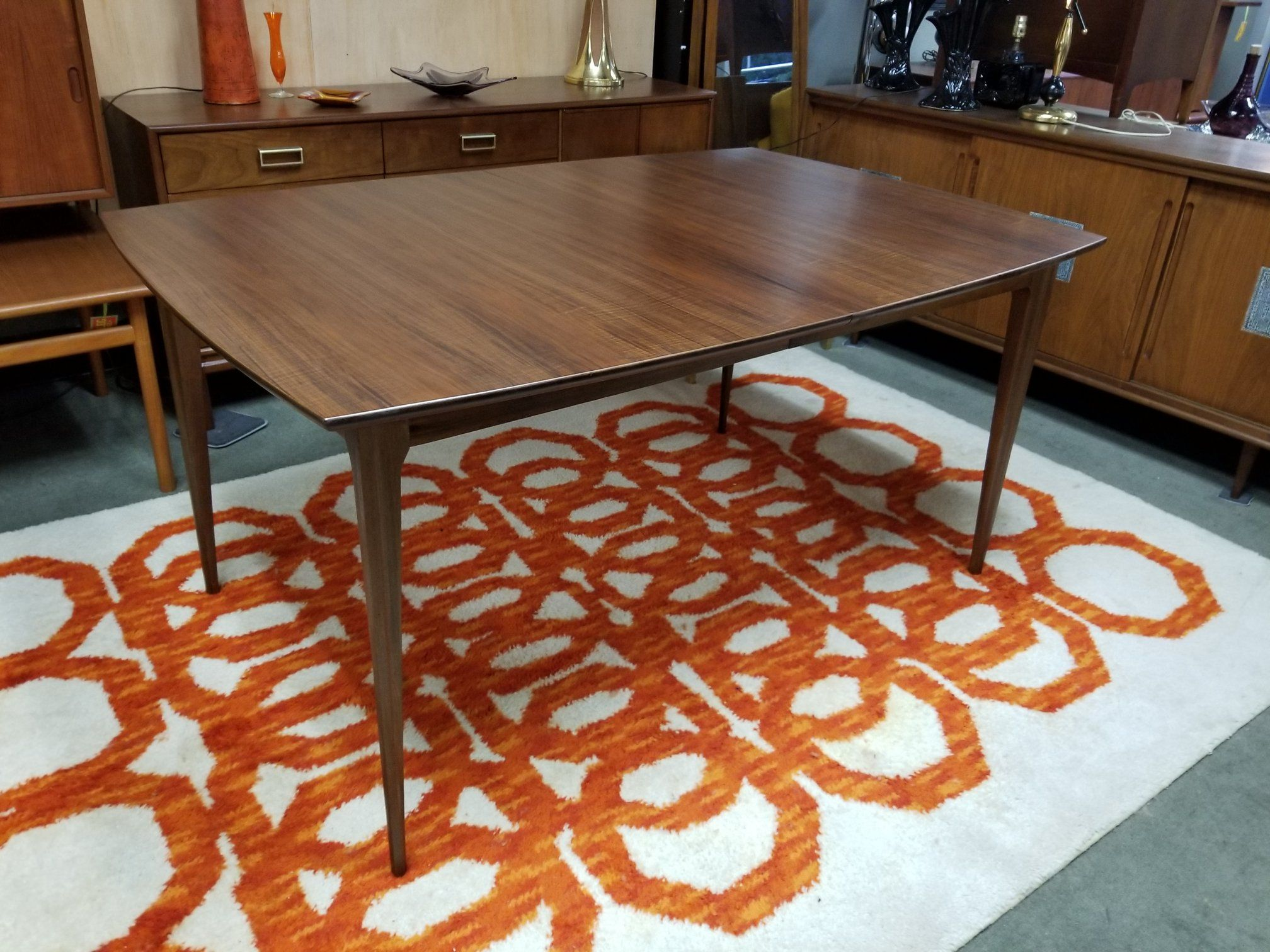 Mid Century Modern Walnut Boat Shaped Dining Table With Two 12