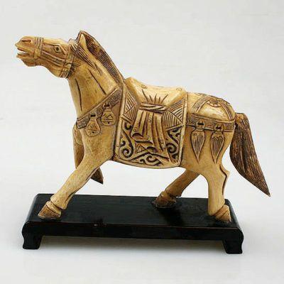 Ox Bone Carved Horse Art Cheval Asie