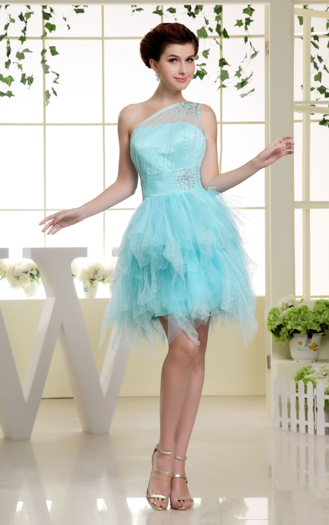Short length sleeveless ruching draping blue tier cocktail dress i