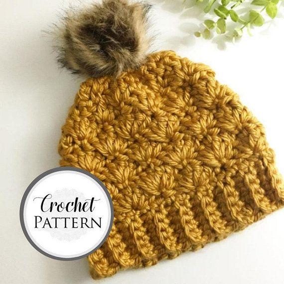 Womens Brown Fan Stitch Hat