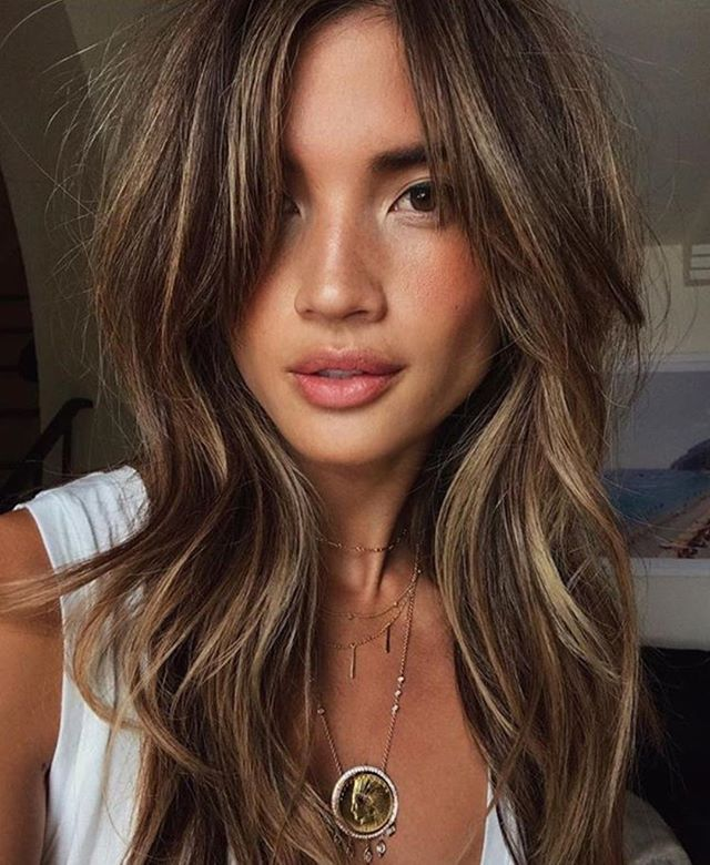Amazing hair color chocolate brown with highlights