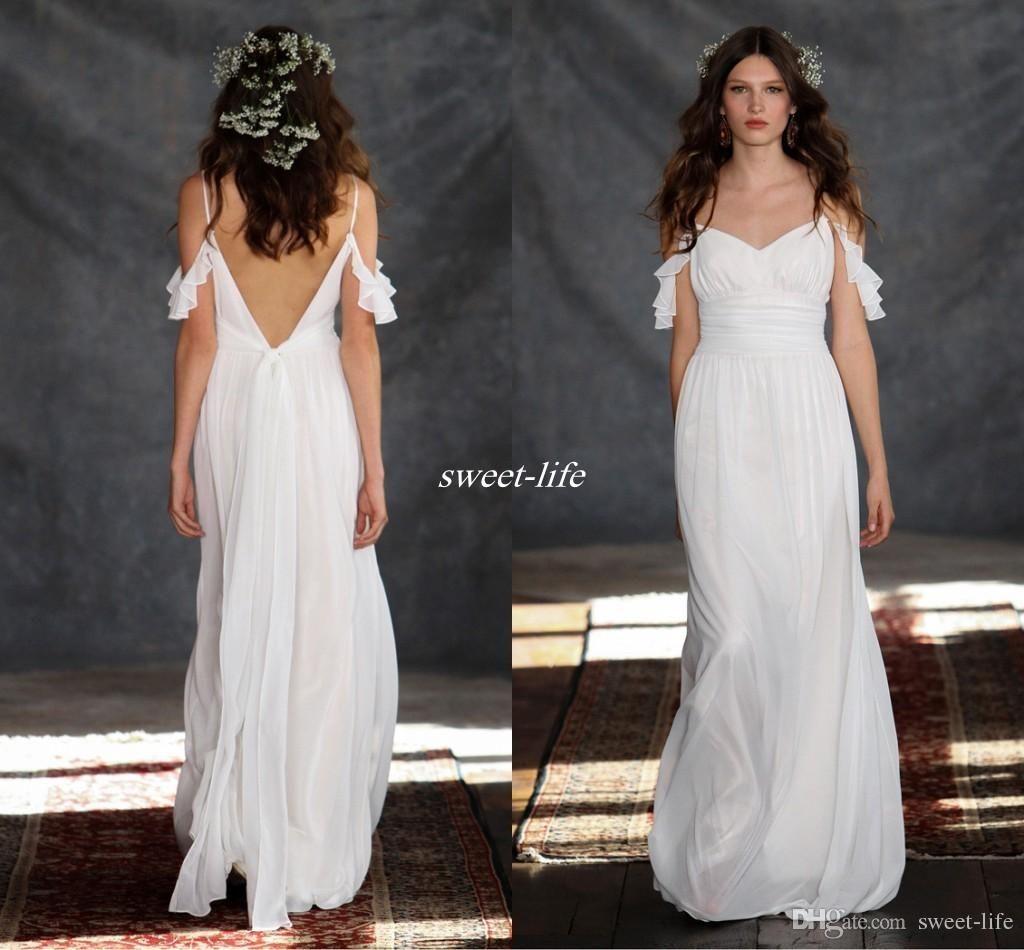Cheap bobo summer wedding dresses backless greek style spaghetti
