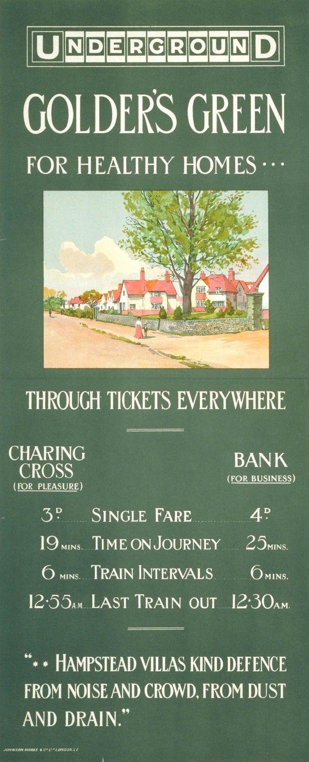 Underground   Poster, London transport museum, Golders green