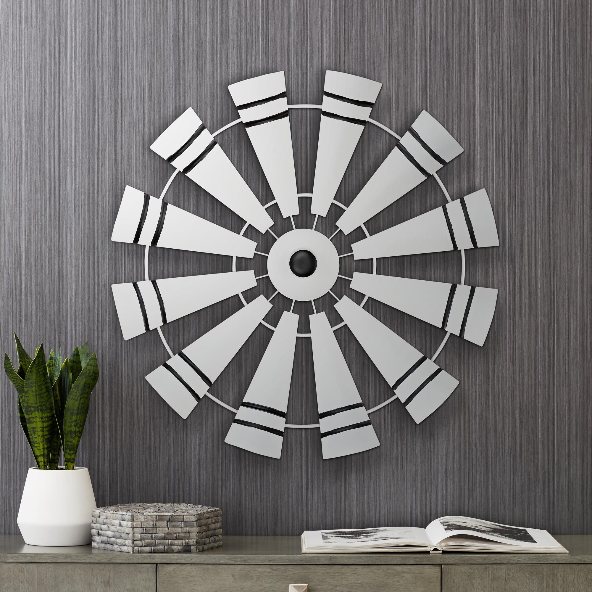 Windmill 27 And One Half Inch Round Black And White Metal Wall Art Large Metal Wall Art Wall Art Plaques Metal Wall Art Diy