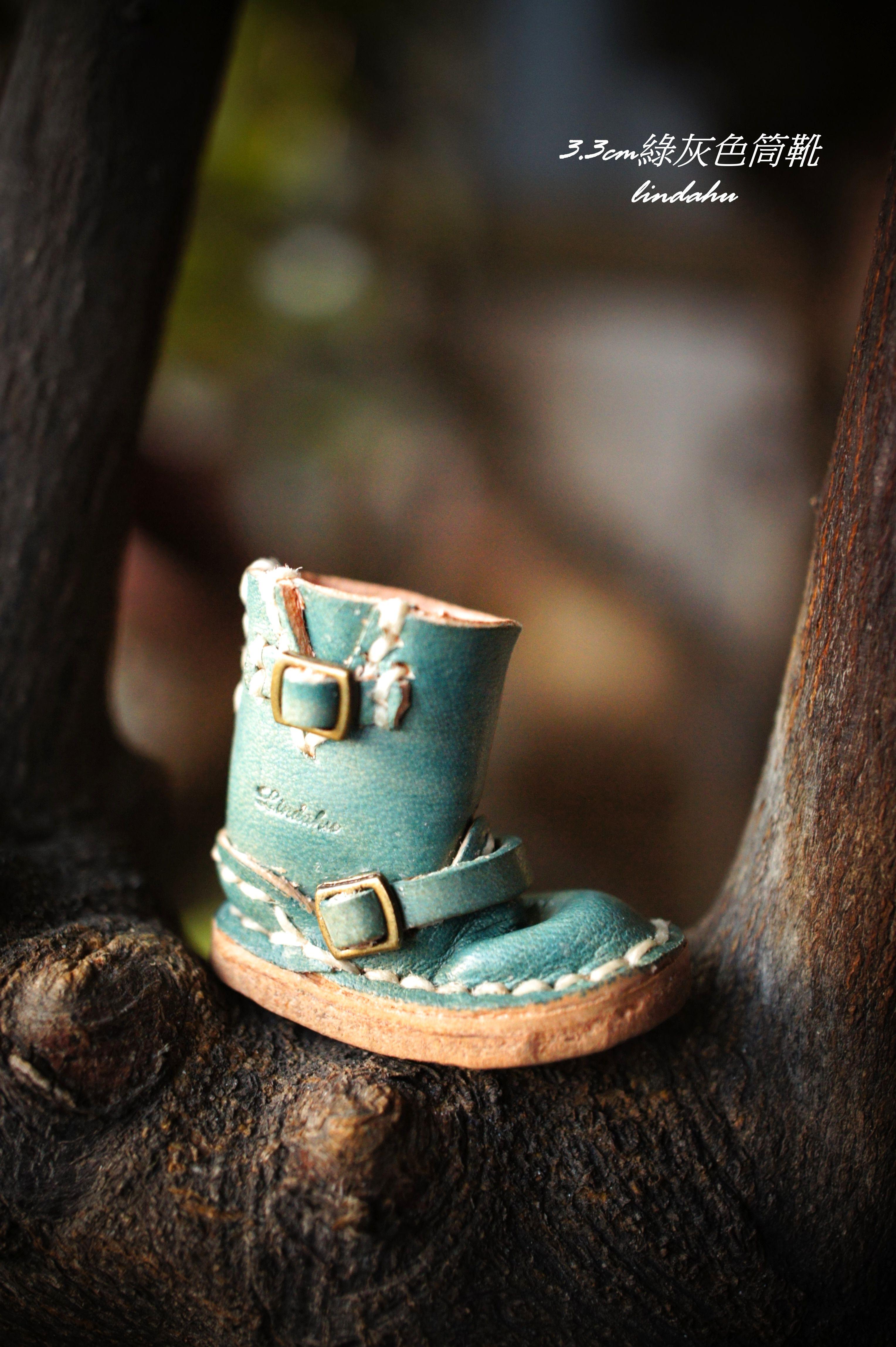 3.3cm 綠灰色自版筒靴