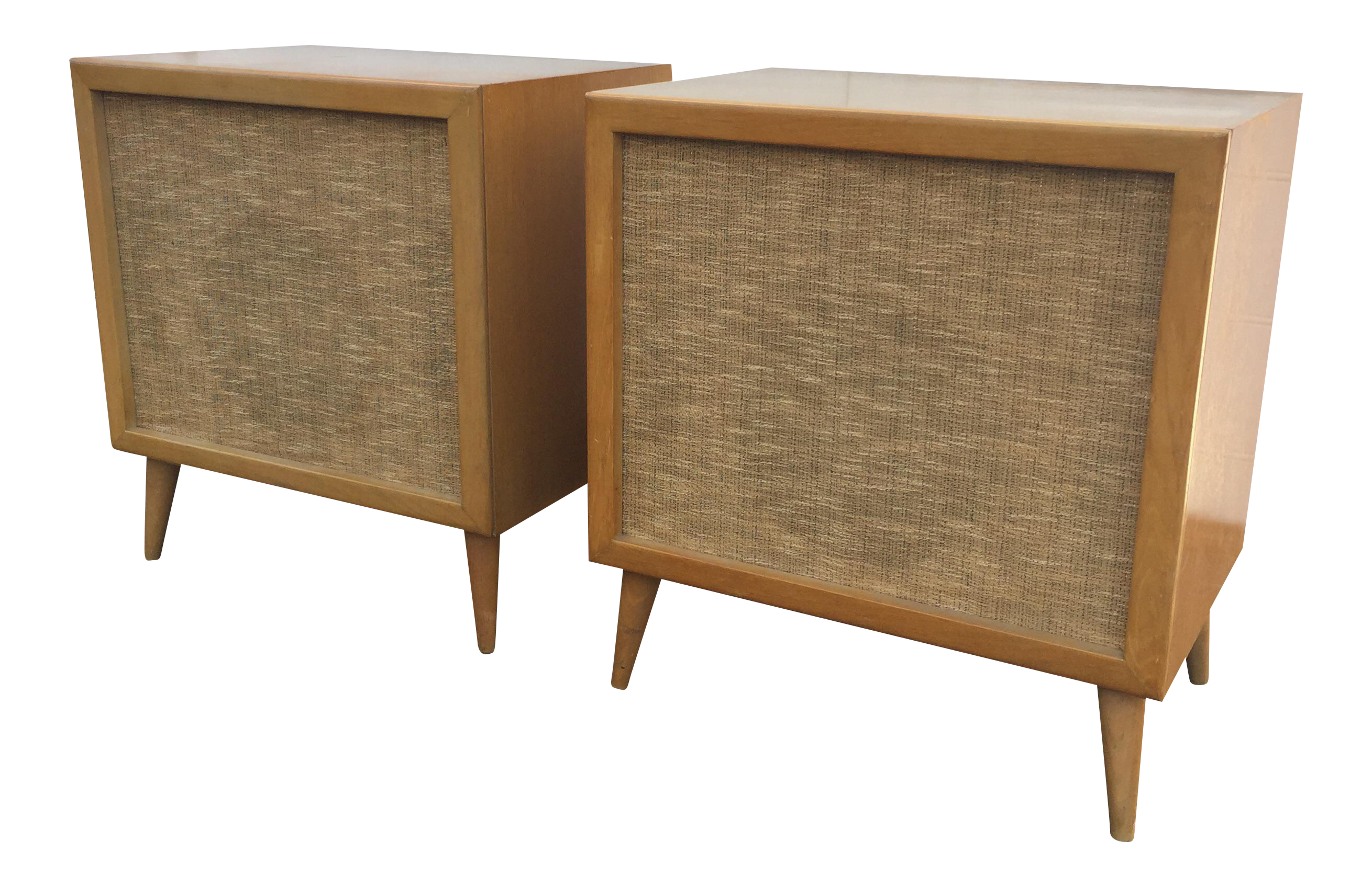 Mid century modern speakers birch wood cabinets on chairish com