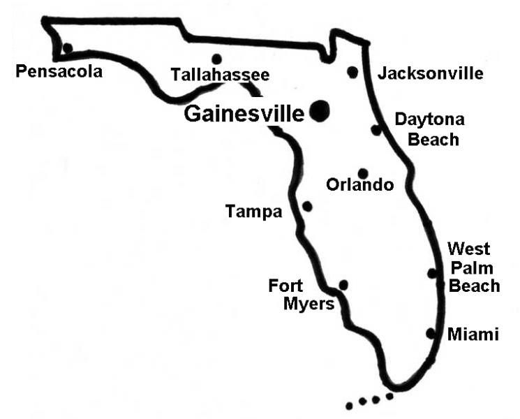 florida map with gainesville