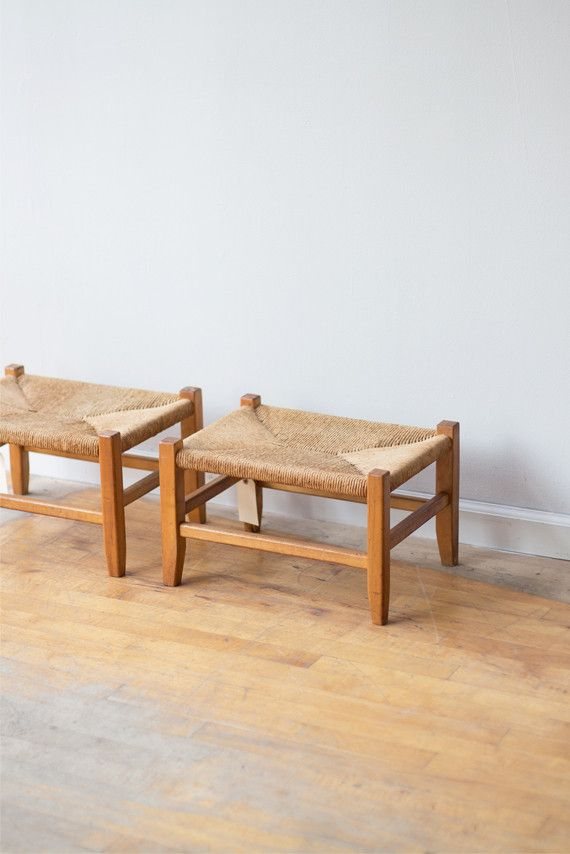 Pair Bed Stools: Just Snagged These 1920s Pair Of Rush Stools From