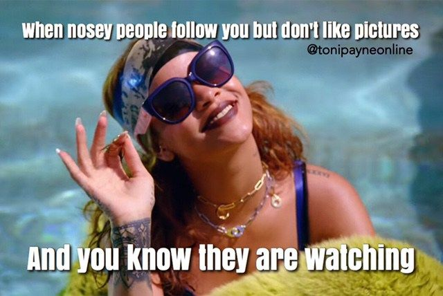 Funny Meme About Nosey Social Media Followers Who Lurk With