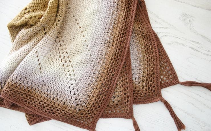 Caramel Whirl Easy Crochet Blanket