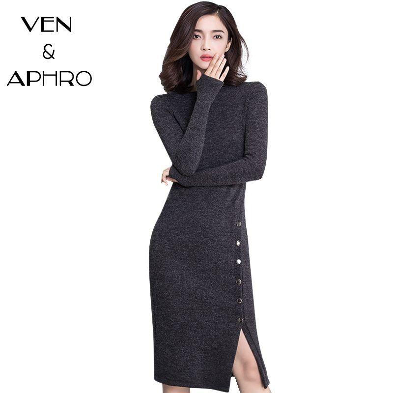 Va 17 New Winter Sweater Dress Women Plus Size Xxxl O Neck Long
