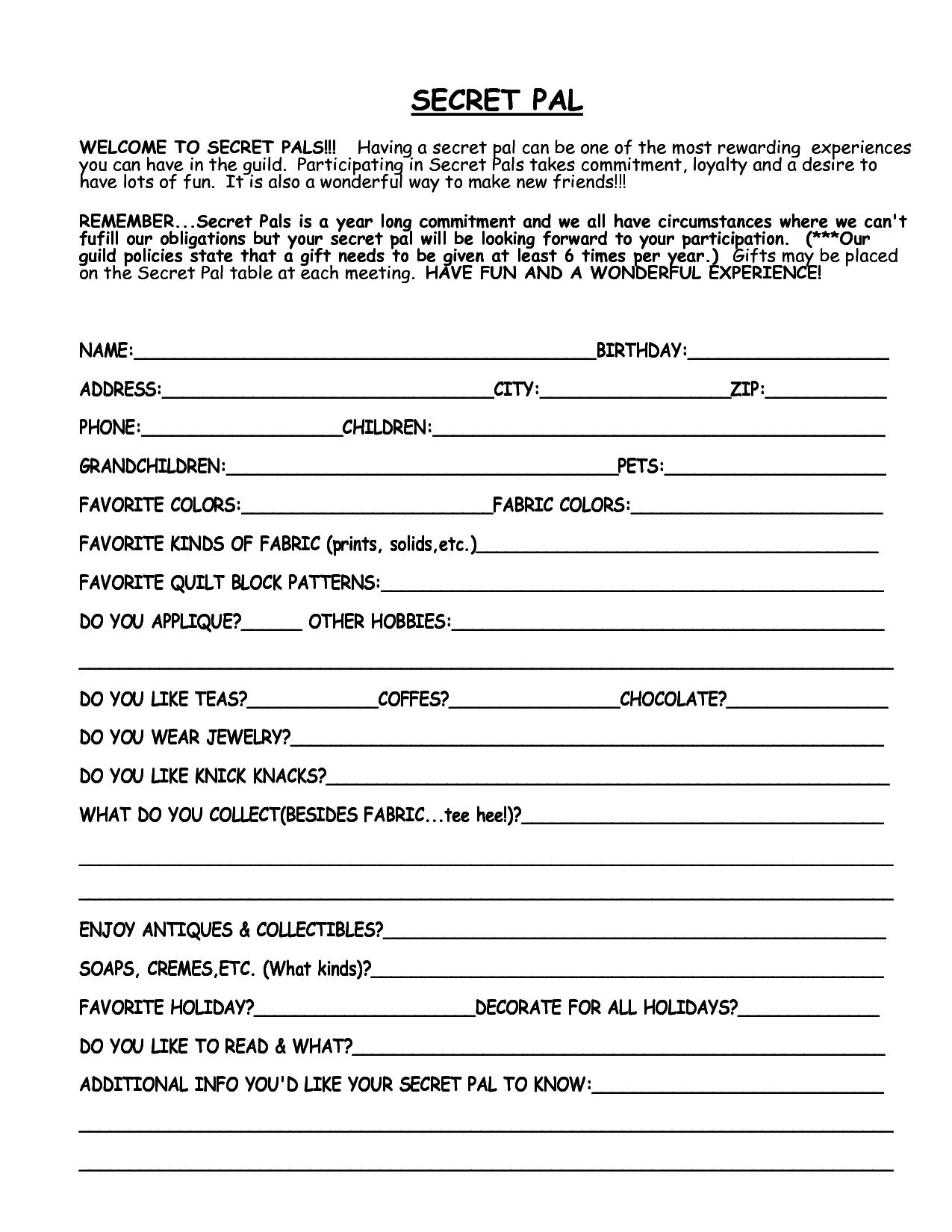 Printable Secret Santa Questionnaire Template