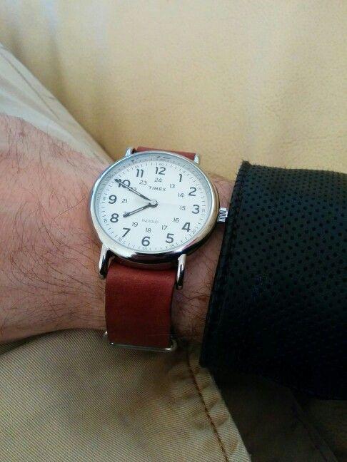 Women's Timex Weekender TW2R63100 Leather Strap Indigo ...