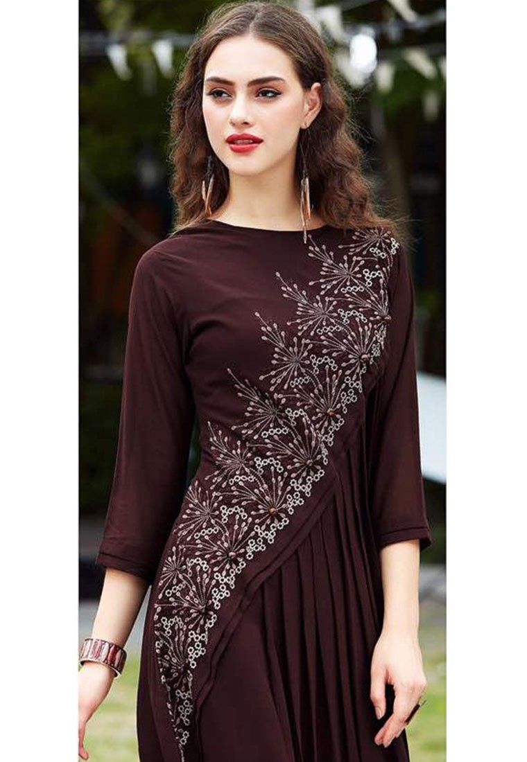 61a27ca69088 Coffee Color Georgette Designer Kurti Coffee Colour