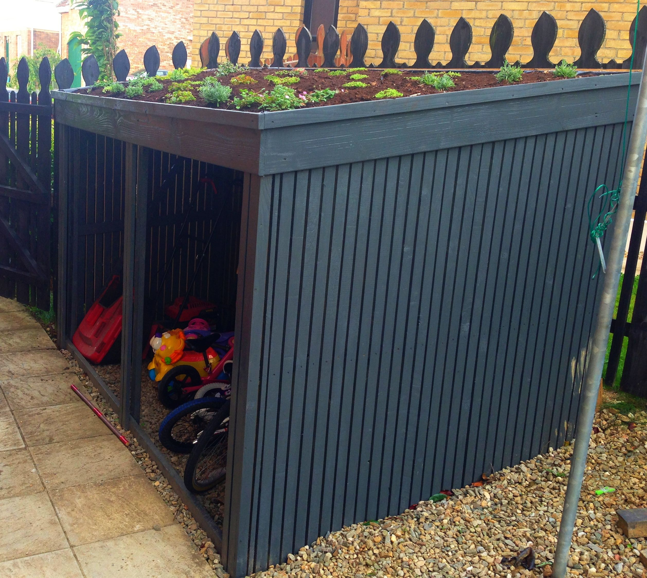 This Is A Bike Shed I Made Over The Summer Outdoor Sheds Outdoor Toy Storage Outdoor Storage Sheds