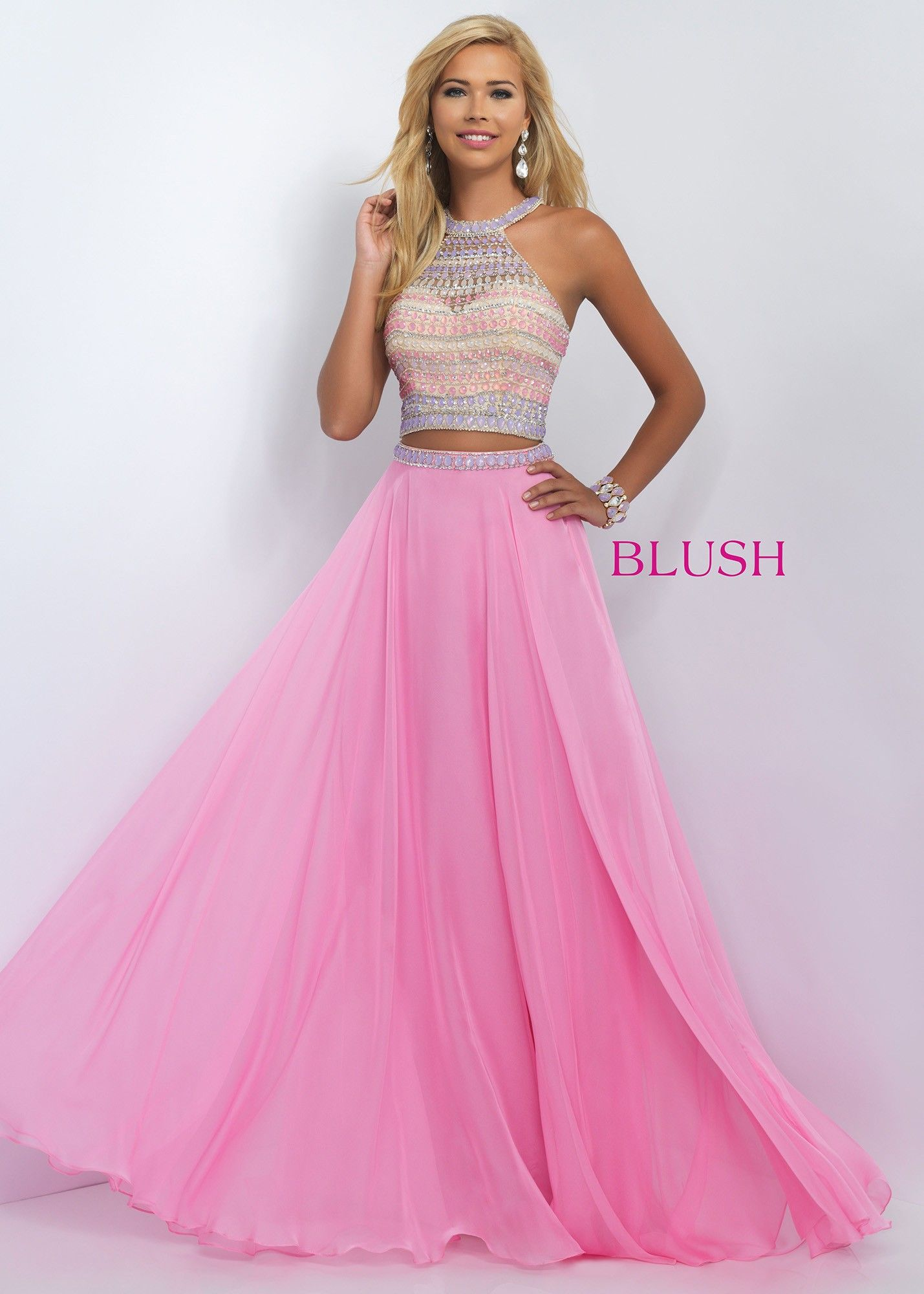 Blush 11056 Fancy Beaded Halter Crop Top Prom Dress | Dulces 15 ...