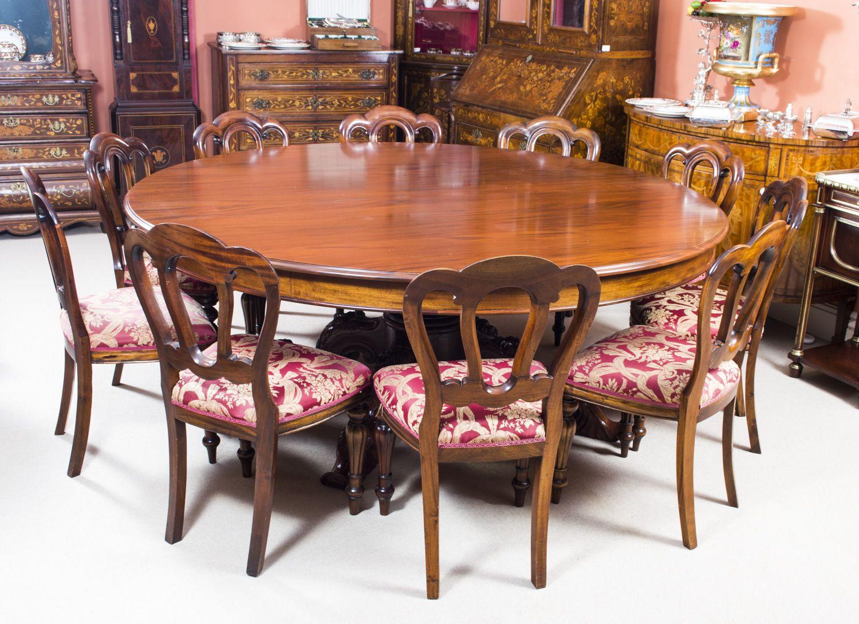 Vintage 2 Metre Diam Mahogany Dining Table 10 Chairs Mahogany