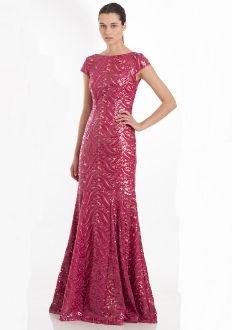 83c4e2f496c3 Ml Monique Lhuillier Cap Sleeve Raspberry Gown 443527