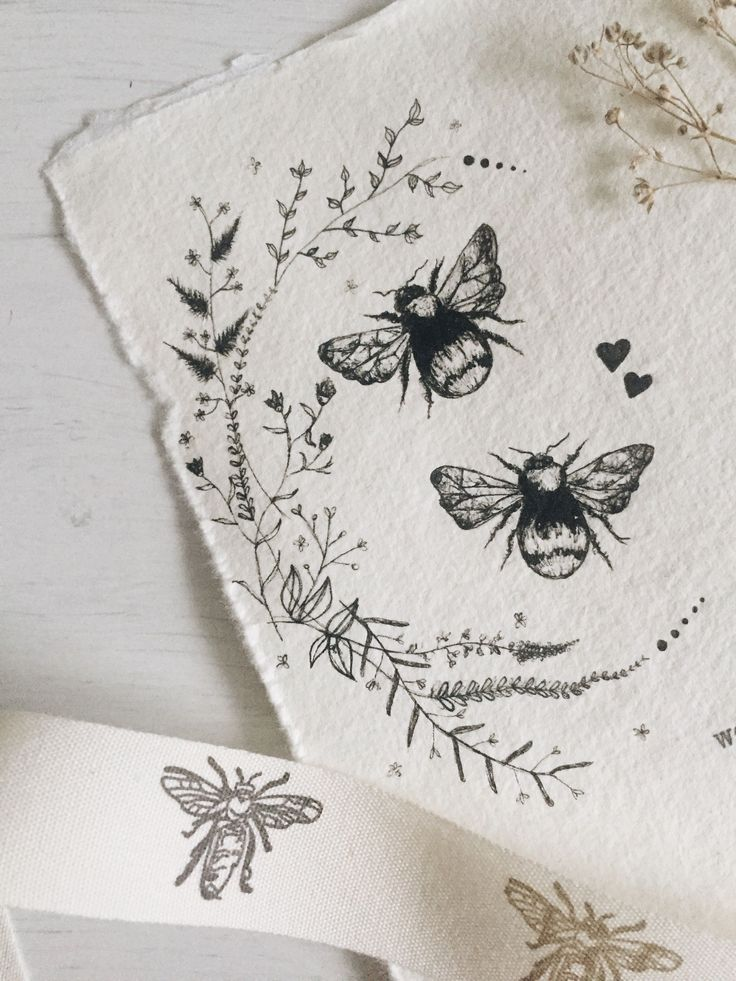 Photo of Bee tattoo wildflower illustration bumblebee wreath More under furwedding …