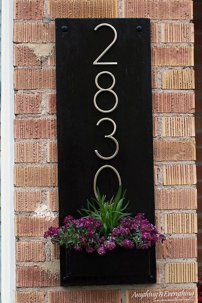 Diy House Number Planter Box House Numbers Diy Home Diy Address Plaque