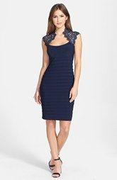 Xscape Lace Cap Sleeve Jersey Body-Con Dress