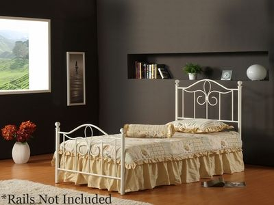 Hillsdale Westfield Twin Size Metal Bed in Off White - click to