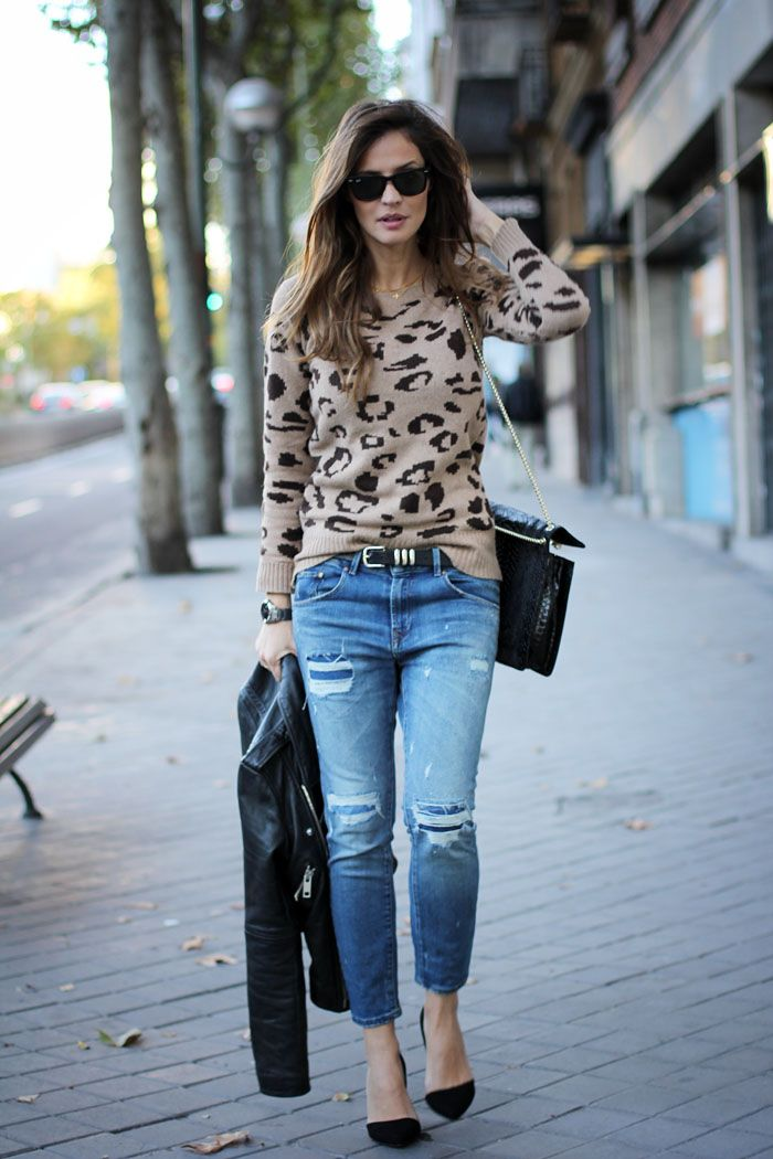 f62e58e788 How to style a leopard jumper  with boyfriend jeans