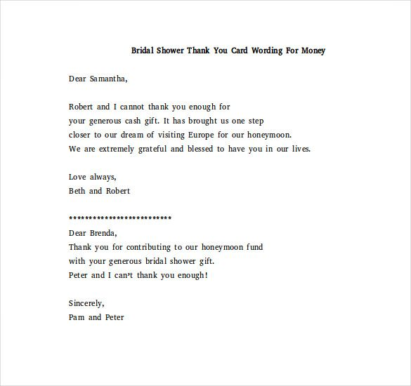 Bridal Shower Thank You Note Free Word Excel Pdf Format Minecraft