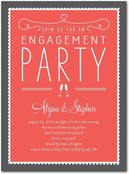 Signature White Engagement Party Invitations Stamp On Over By Wedding Paper Divas