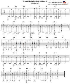Can T Help Falling In Love Fingerstyle Guitar Tab Mit Bildern