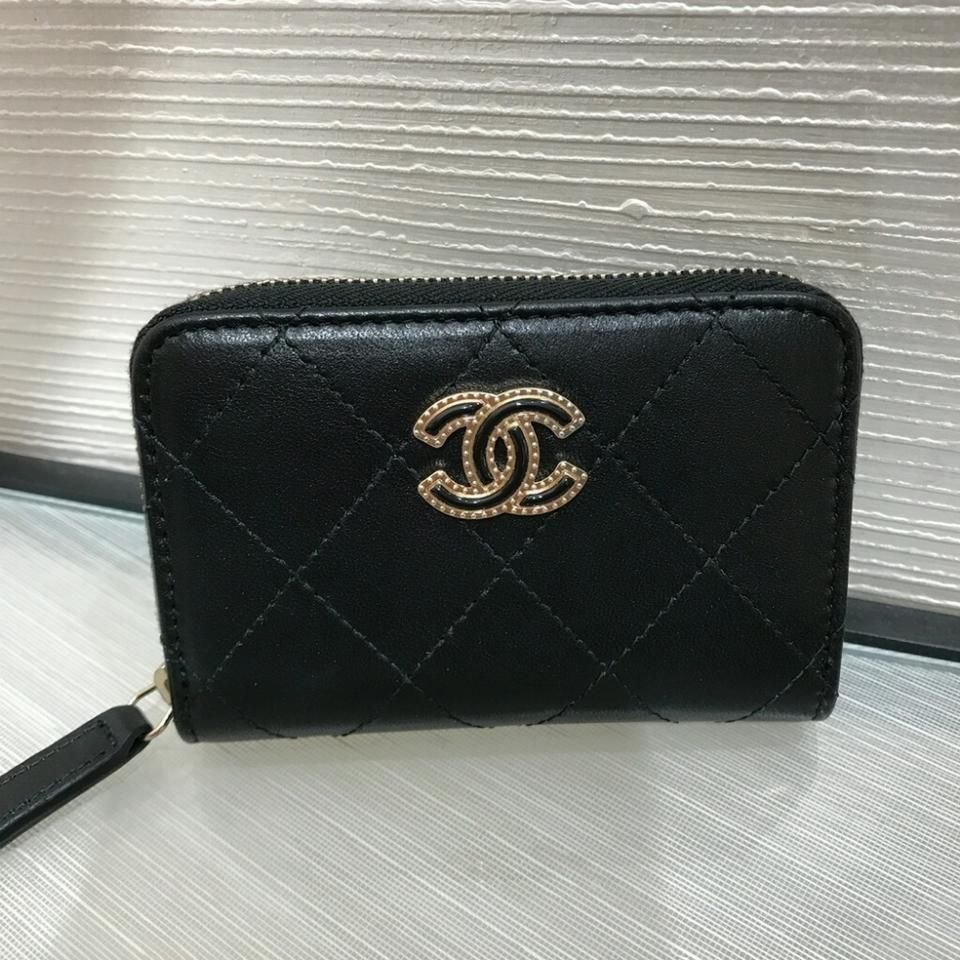 f306c3896e4717 Chanel Chanel CC Zip Around Coin Purse Card Holder Wallet in Black With  Gold Hardware