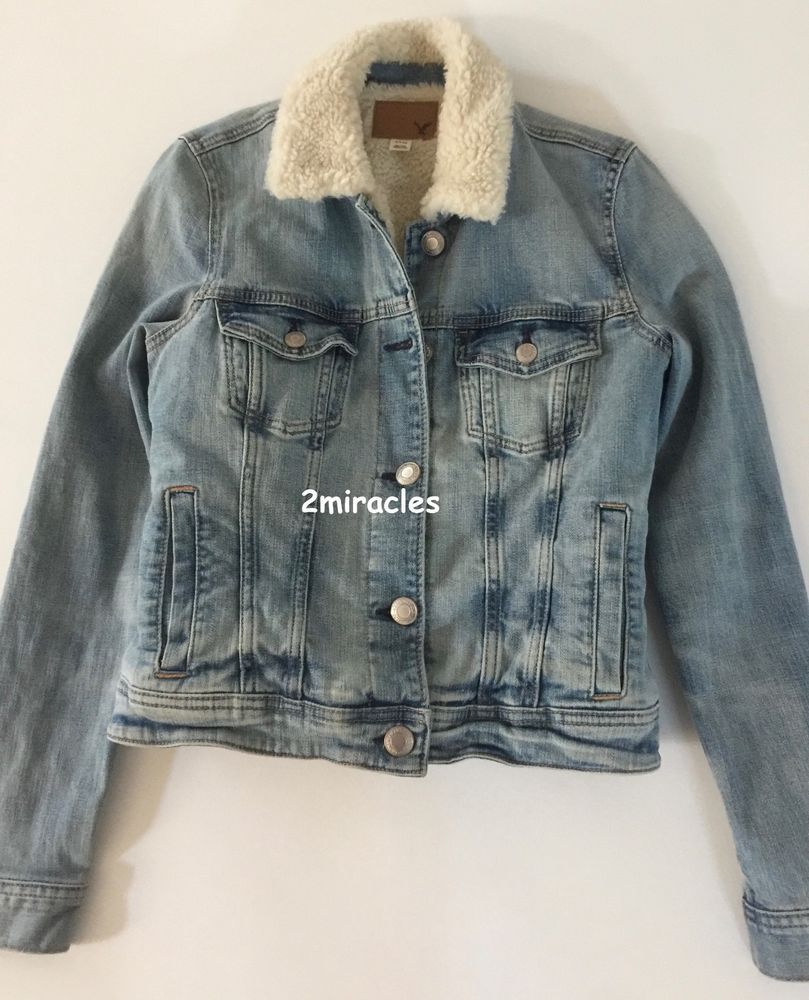 American eagle womens faux fur sherpa lined light wash denim jean