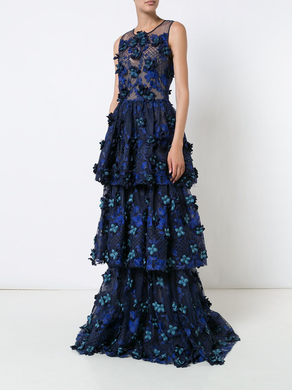 a437bb28ee Marchesa Notte floral applique layered gown | if i ever have a ...