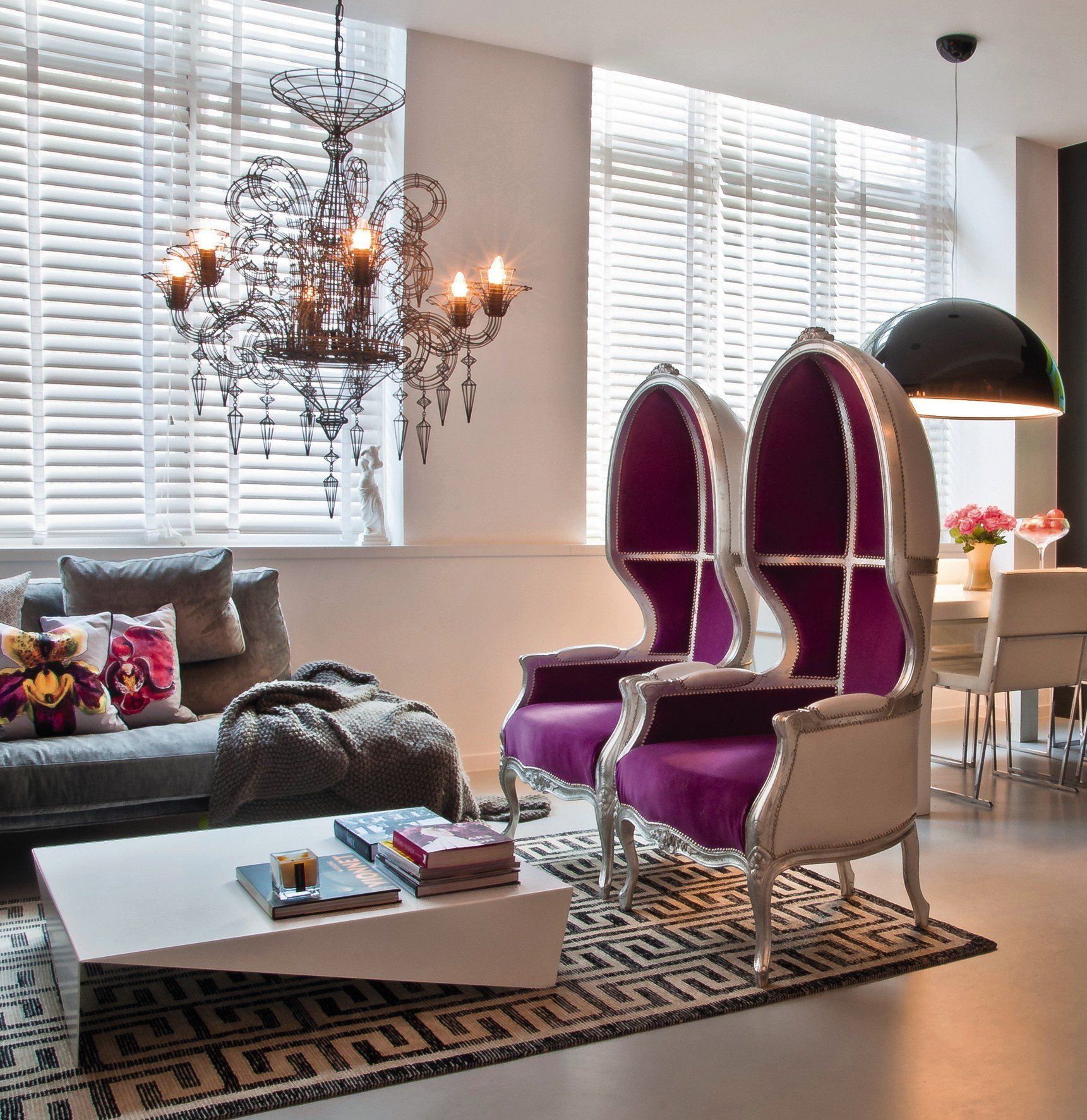 Contemporary Space In Purple And Gray Glam Living Room Modern