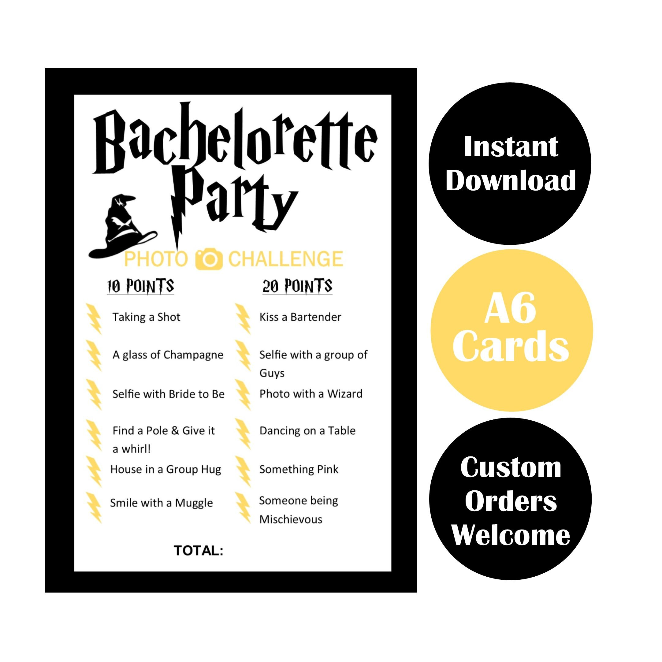 Harry Potter themed Bachelorette Party Photo Challenge Scavenger ...