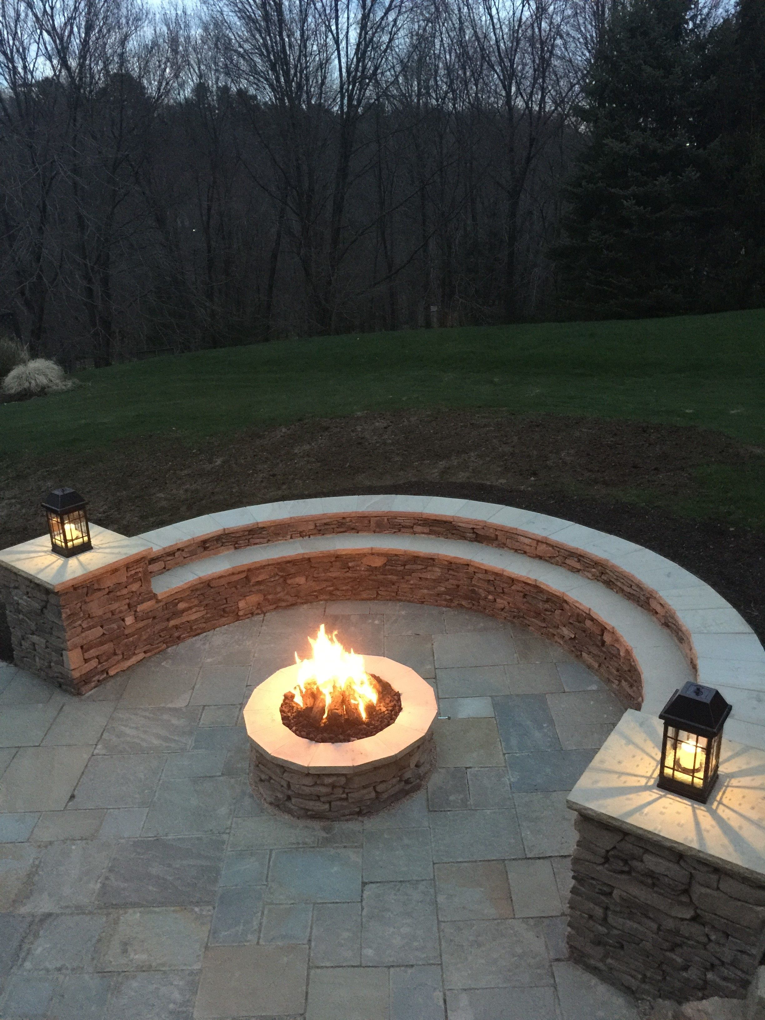 Pa Mountain Stone Veneered Seating Retaining Wall With Pillars Sandstone Caps Pa Mountai Landscaping Retaining Walls Fire Pit Seating Area Brick Fire Pit
