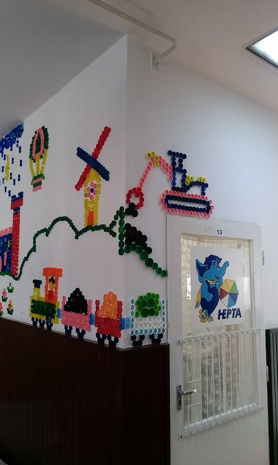Our wall decoration with plastic bottle caps
