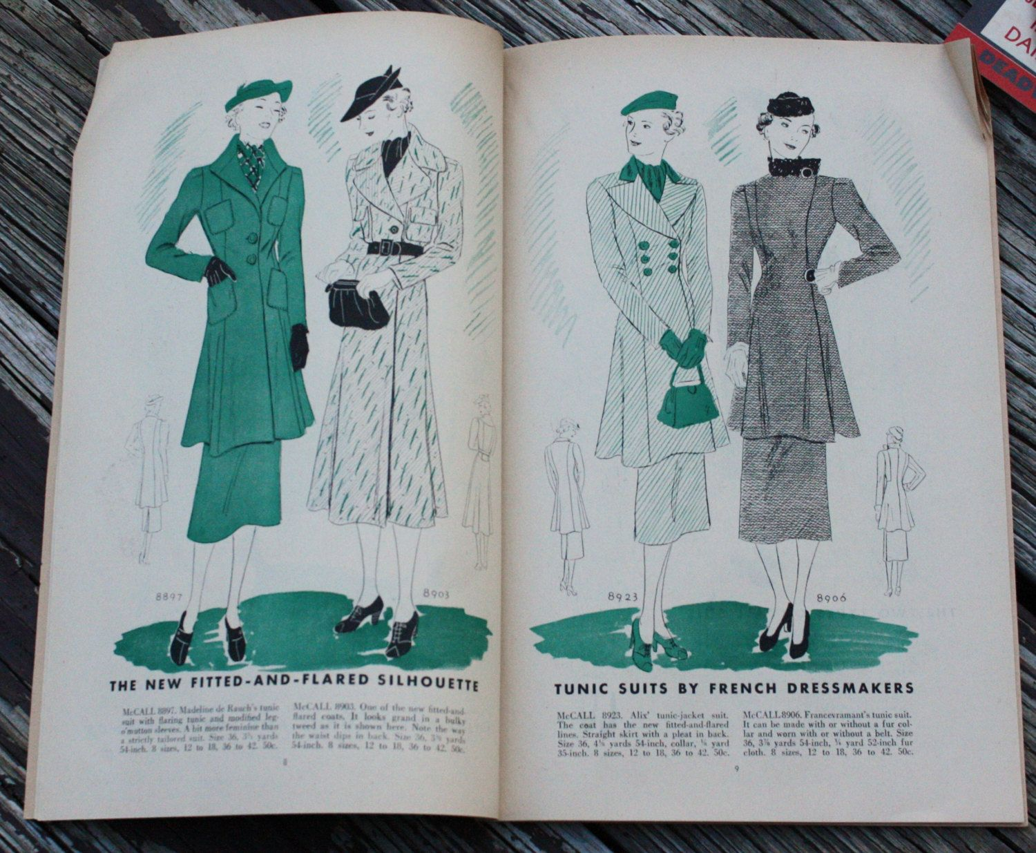 McCall Style News, September 1936 featuring McCall 8897 (after Madeleine de Rauch), 8903, 8923 (after Alix) and 8906 (after Francesvramant)