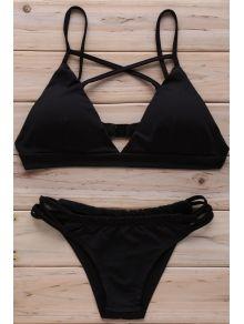 Cruz del color sólido cabestro conjunto del bikini