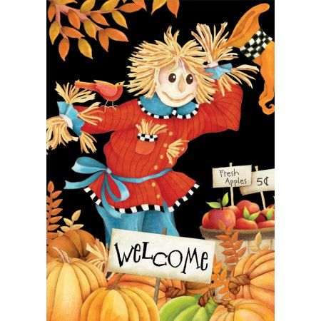 Lang Welcome Scarecrow Large Flag Scarecrows, Flags and Products - large outdoor halloween decorations
