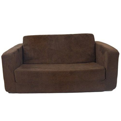 toddler flip sofa micro suede fabric kids furniture bedroom chocolate