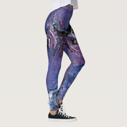 Purple And Blue Funky Abstract Art Leggings Yoga Health Design