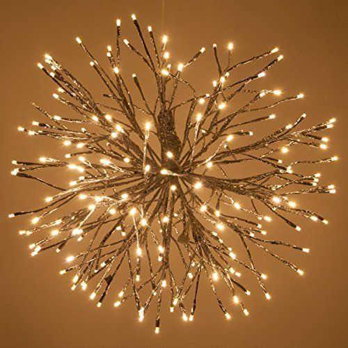 Willowbrite Globe 12 Globe Filled With 100 Warm White Leds Natural Willow Branch Pendant Lamp Chr Starburst Light Lighted Branches Hanging Christmas Lights