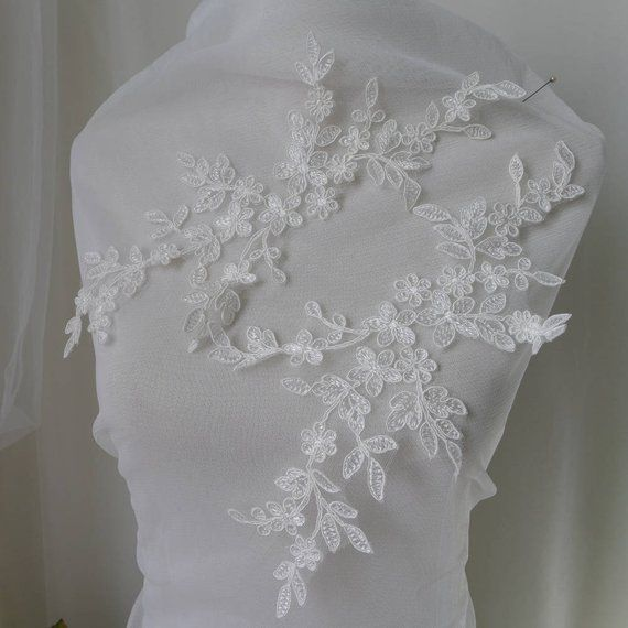 Pearl Bridal Lace Trim Corded Embroidery Applique Wedding Dress DIY Motif 1 Pair