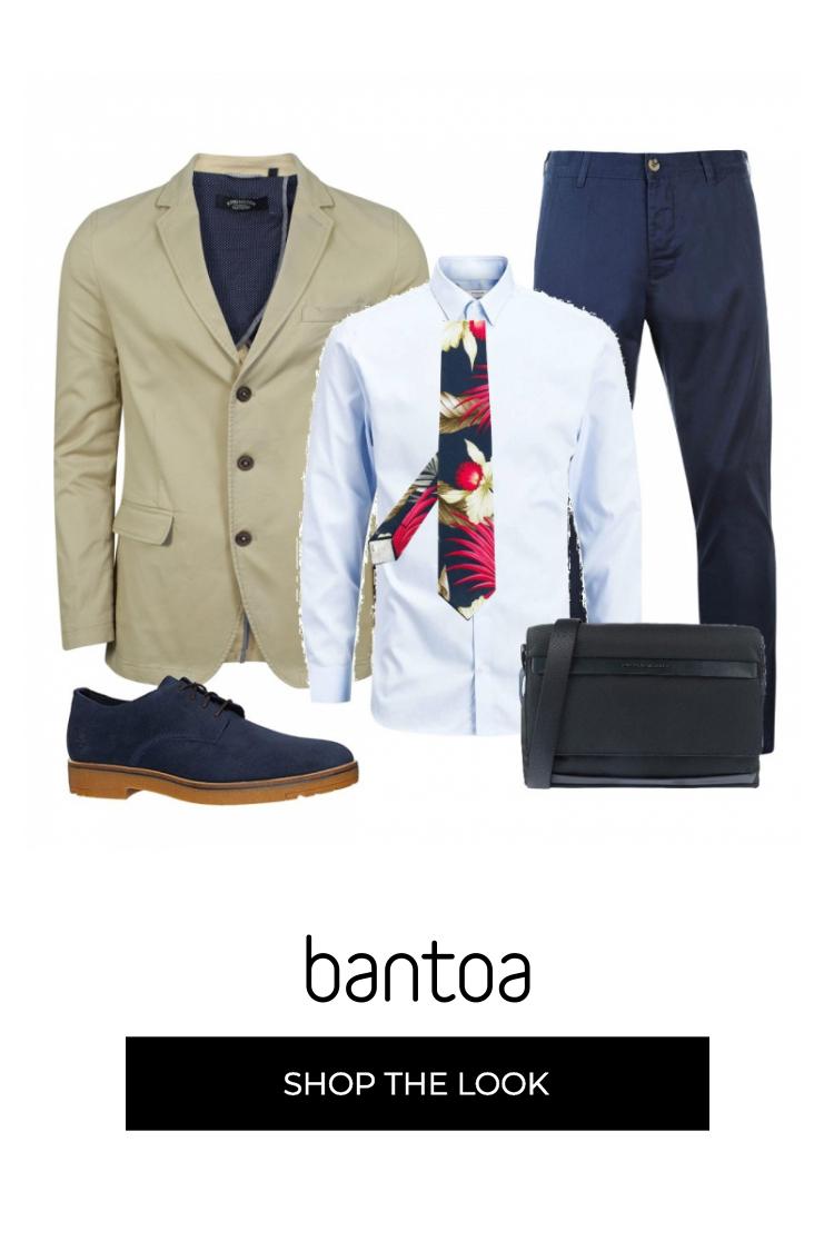 Giacca Beige Vestibilita Slim Camicia Celeste Con Cravatta A