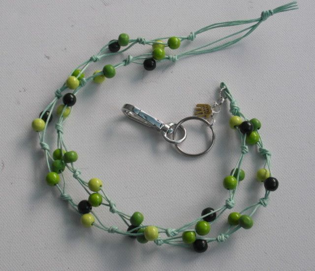 Avainnauha #10 by Miss Piggy / Key chain, ID holder, made with wooden beads and waxed cord