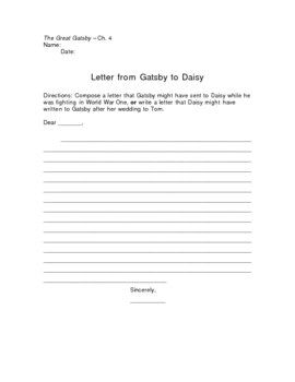 The Great Gatsby Letter To Daisy Writing Assignment  Writing