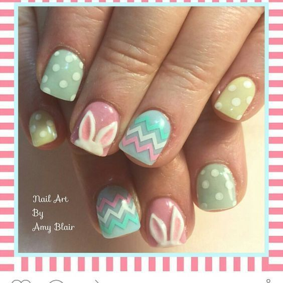 Bunny-Ears | 16 Easy Easter Nail Designs for Short Nails | Cute Spring Nail  Art Ideas for Kids - 21 Easy Easter Nail Designs For Short Nails Lovely Short Nails