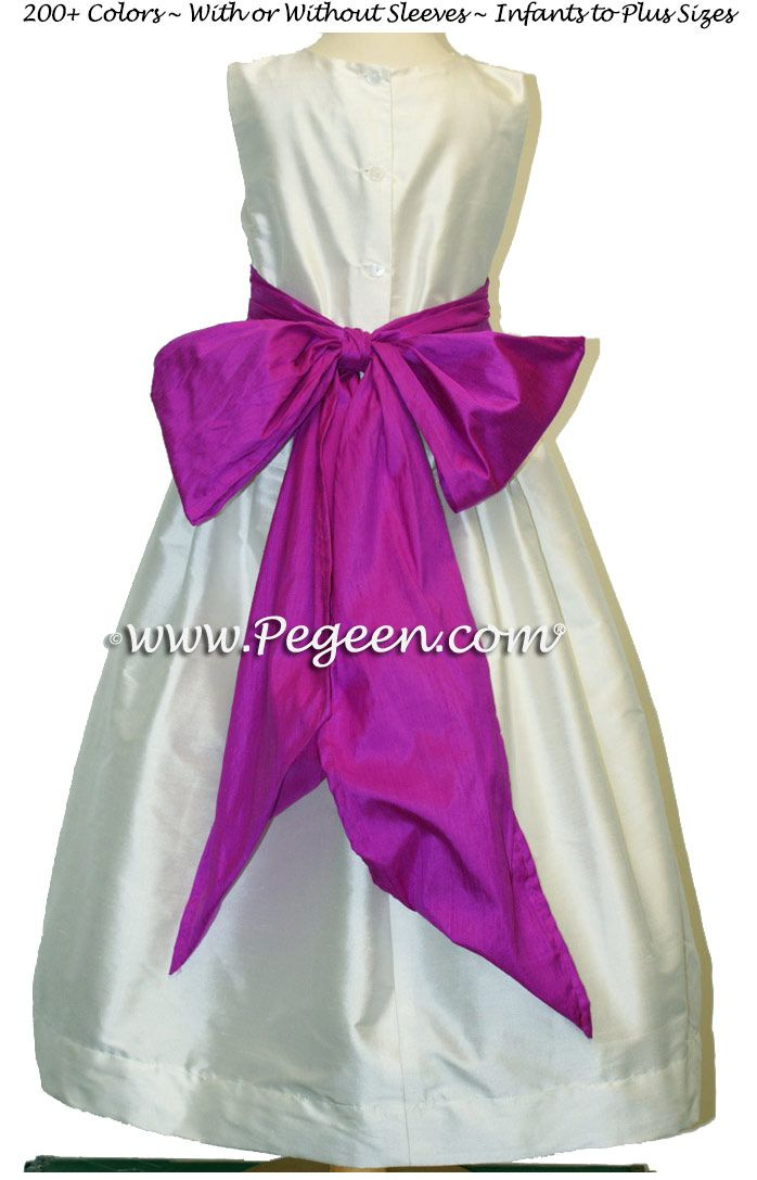 IVORY AND FUCHSIA (BERRY) JUNIOR BRIDESMAIDS DRESSES | Hot Pink ...