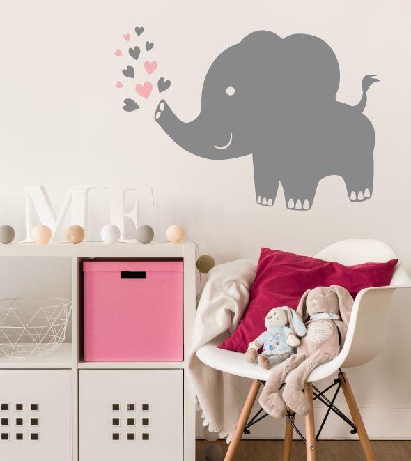 Elefant 2 farbig als Wandtattoo mit Bildern
